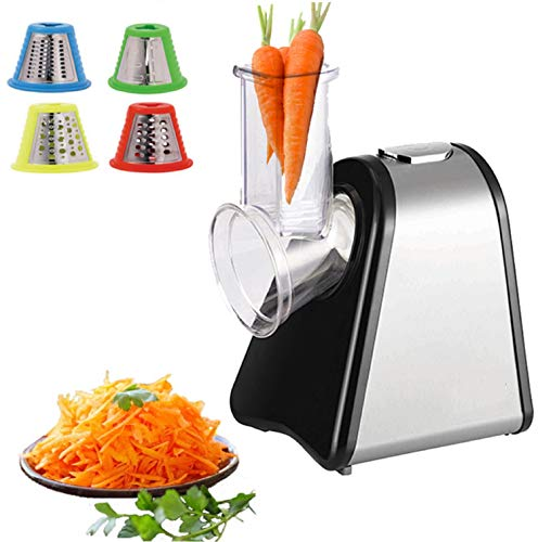 Zilan Elektrische Küchenreibe | 4 Aufsätze | Trommeln aus Edelstahl | 200 Watt | Elektrischer Gemüsehobel Küchenmaschine Reibe Multifunktionsreibe | Elektrisches Schnitzelwerk |