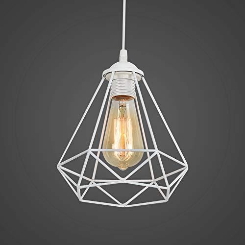 Retro Lámpara Colgante Vintage iluminación de Techo Iluminación E27 Capacidad AC220-240 V para comedor, Dormitorio, Café,Blanco