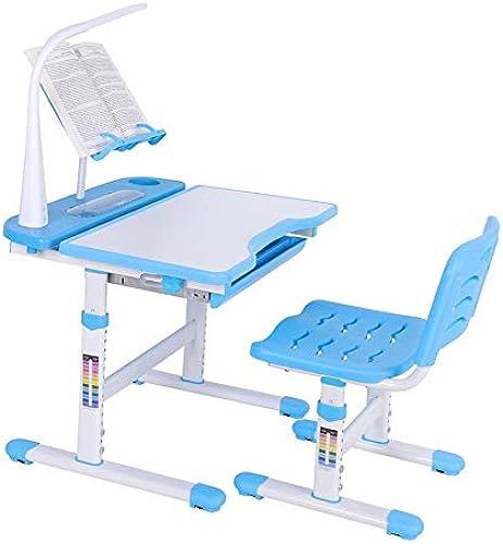 GOTOTOP Kinderschreibtisch, H nverstellbarer Kinderschreibtisch und -Stuhl mit Touch-Control-Lampe, Leserahmen und ErWeißrungsplatine, für Kinder 3-12 Jahre, Blau