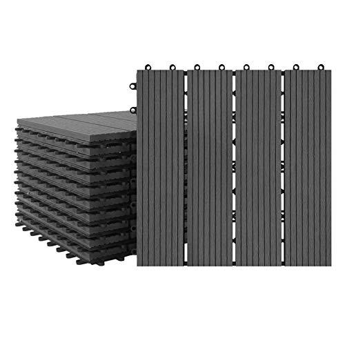 Aufun 22x Balkonfliesen Terrassen WPC Kunststoff klick Fliese Terrassendielen in Holz-Optik Zusammenbaubar Garten klick-Fliese ca. 2m²(30x30cm/Stück, Anthrazit)