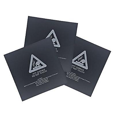 Signstek 3PCS 3D Printer Bed Surface for 3D Printer Platform, 220mm x 220mm x 0.5mm (Black)
