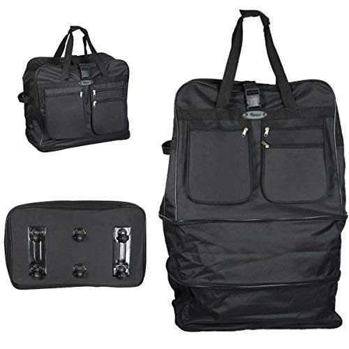 New Extra Large 30/36/40/44 inch Folding Wheeled Cargo Suitcase Duffle Travel Bag (Black, 44')