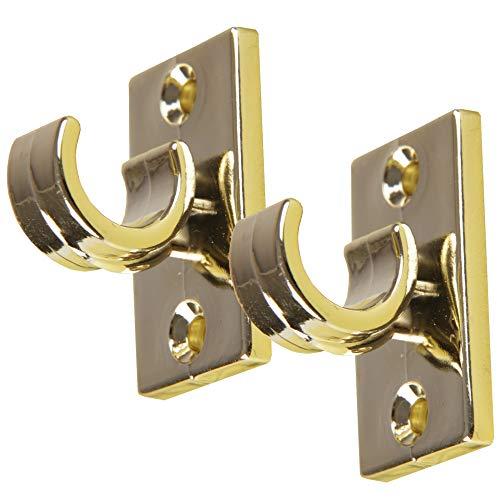 Bestlivings 8er Pack Ersatzträger für Gardinenstangen bis Ø 12 mm in Gold (L 2,5 cm), Träger für Cafehausstangen, Scheibenstangen