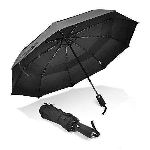 LEAGERA Travel Auto Folding Umbrella - Windproof Sturdy 41inch Umbrella - 9K Unbreakable Ribs - Waterproof 210T Fabric for Men Women (black)