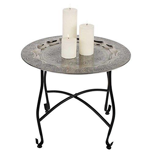 albena shop 73-104 Mani Mesa de té Oriental Mesa Plegable con Bandeja ø 50 x 40 cm Metal
