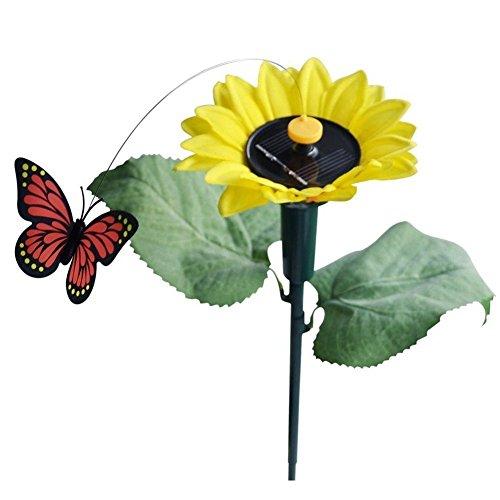 TOOGOO(R) Solar Sonnenblume mit Schmetterling 1x Tanzend Solar/Batterie Sonnenblume mit Schmetterling auf Gartensteckern Garten Rasen Blumentopf Blumenbeet Deko Ornament Farbe Random