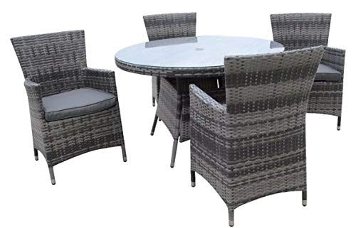 Chusstang Rattan Furniture Set, Luxury Panio Garden Set Patio Conservatory Indoor Outdoor Dining Table and 4 Chair Outdoor Rattan Dining Set - Grey 120cm with 4 Seater in Black Cushion