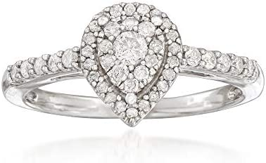 Ross Simons 0 40 ct t w Diamond Pear Shaped Cluster Ring in Sterling Silver Size 6 product image