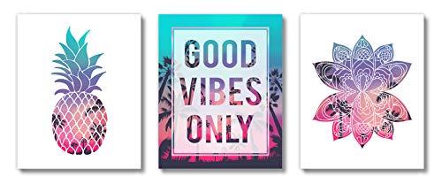 Brooke & Vine - Beach Teen Girl Room Wall Decor Art Prints - (UNFRAMED 8x10) VSCO Inspirational Wall Art, Motivational Quotes Posters for Kids, Tween Women Office Bedroom, Dorm, Cubicle, Desk (Good Vibes Only)