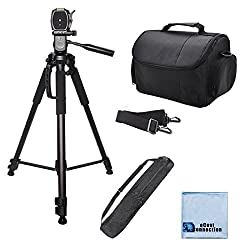 72″ Inch Elite Series Full Size Camera Tripod for DSLR Cameras/Camcorders + Large Soft Padded Camcorder Equipment Case & eCostConnection Microfiber Cloth