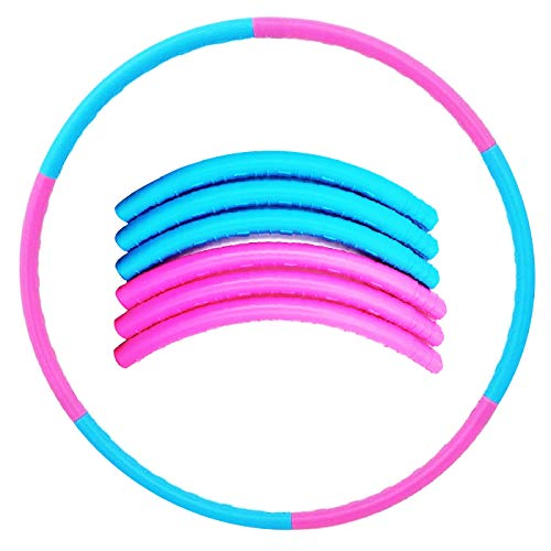 Luckkyme Hula Hoop for Kids and Adults, Detachable & Size Adjustable Design for Sports Playing Games (Blue and Pink, 1 Pack)