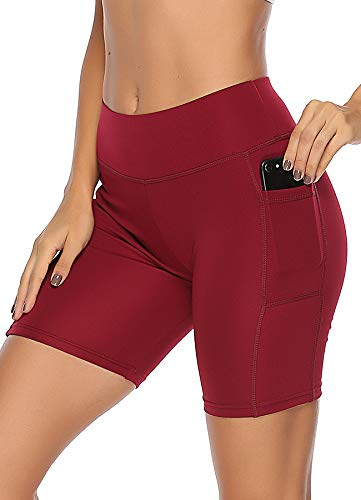 INSTINNCT Damen Sport Kurze Hose mit Taschen Trainingshose Sporthose Jogginghose Fitness Shorts M Short-weinrot