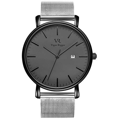 Vigor Rigger Herren Armbanduhr Dünne schwarz Quarzuhr mit Grau-dial Datum Kalender und Edelstahlband Einfach Design für Mann