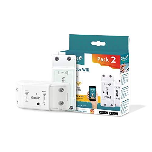 Garza ® Smarthome - Pack 2 Controlador interruptor inteligente Wifi Integrado. Programable, control remoto y controlable a través de voz y app, compatible con Alexa y Google Home.