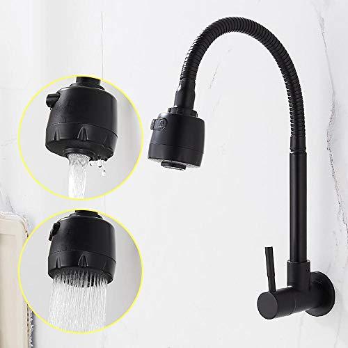 HomeLava Grifo de cocina para fregadero de agua fría, montaje en pared, monomando, giratorio 360°, doble función, acero inoxidable 304, color negro