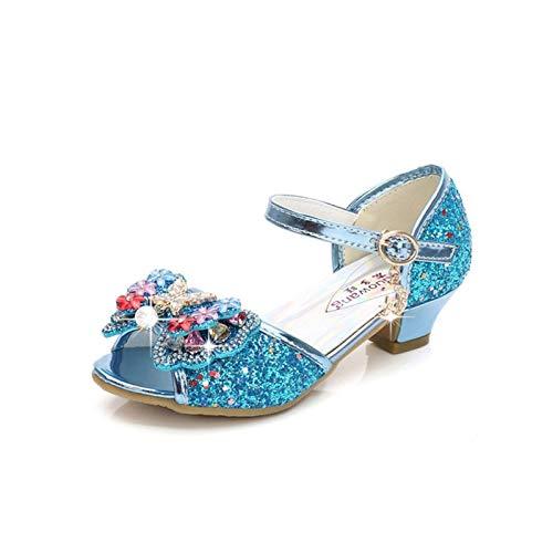 Youpin Zapatos de piel para niños de princesa con purpurina, estilo casual, con purpurina, para niñas, de tacón alto, con nudo de mariposa, azul, rosa, plata (color: azul, talla de zapato: 36)