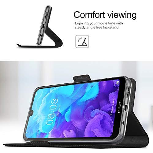 GEEMAI für Huawei Y5 2019 Hülle, für Huawei Y5 Prime 2019 Hülle, handyhüllen Flip Hülle Wallet Stylish mit Standfunktion und Magnetisch PU Tasche Schutzhülle passt für Huawei Y5 2019 Phone, Schwarz - 5
