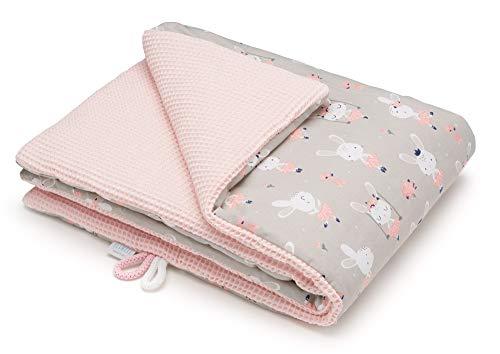 EliMeli Manta para bebé, 100% algodón, cálida manta de gofre con relleno, ideal como manta para cochecito, regalo para niños y niñas, nueva colección (rosa - conejo)