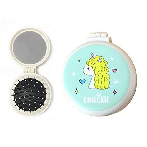 Niños Mini Airbag Peine Plegable Con Espejo Redondo De Maquillaje Niña De Masaje Cepillo De Pelo De Los Muchachos Bolsa De Viaje Espejo Peine Unicornio De Dibujos Animados Patrón (Amarillo)