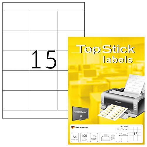 TopStick 8738 - Etiquetas autoadhesivas universales A4 (70 x 50,8 mm, papel) 100 hojas, 15 etiquetas por hoja, 1500 etiquetas, para impresoras inkjet y láser