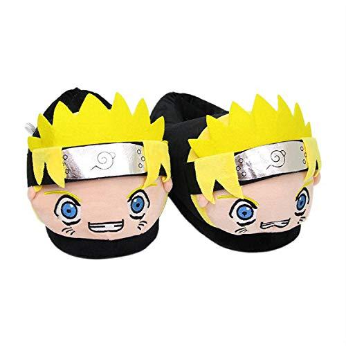 Y-PLAND Pantofole di Cotone Anime Naruto, Pantofole per Bambole di Peluche dei Cartoni Animati, Paio di Scarpe Calde per Interni Invernali-Naruto Uzumaki_UK4.5-8