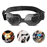 PEDOMUS Dog Sunglasses Small Dog Goggles Doggles Dog Glasses for Small Dogs UV Protection Windproof Waterproof Adjustable Band Black