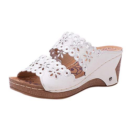 LILICAT_Schuhe Sommer Keilsandalett Damen Retro Peep Toe Sandalen Lässige Strand Pantoffeln Outdoor Keilabsatz Sandalen rutschfest Sandalen Mädchen Mode Pumps