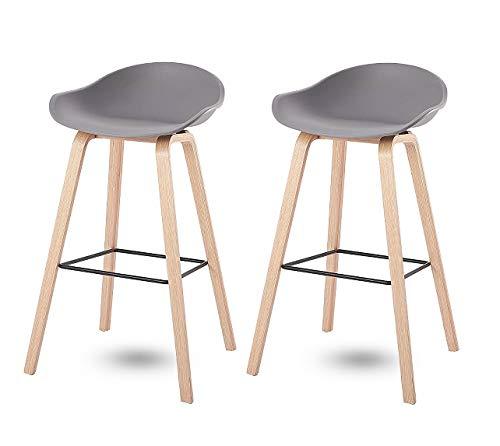 00 Chaise de Bar Style Moderne tabourets de Bar Chaise de comptoir Cuisine Petit déjeuner Tabouret de Bar Avec Surface ABS et Pieds en Bois, Couleur Grigio, Lot de 2