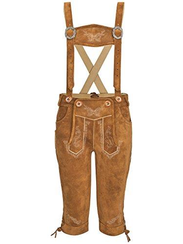Kinder Lederhose Wiesn-Bua Trachtenlederhose Jungen und Mädchen Trachten Lederhose Kniebund (170, Hellbraun)