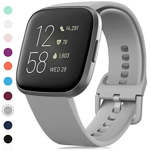 RIOROO Correa Compatible para Fitbit Versa Pulsera/Versa 2 Correa/Versa Lite Correas/Blaze Pulseras,Silicona Banda de Reloj para Hombres Mujeres, Deportivo Recambio de Pulsera Gris(Sin Reloj),S