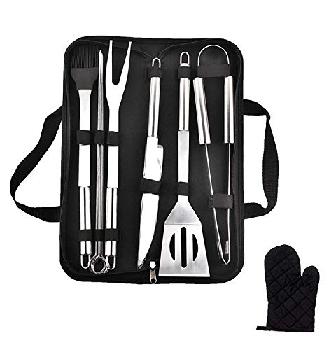 Emwel BBQ Grill Tools Set, 9 Pieces Stainless Steel BBQ Tool Sets +1 Barbecue Gloves, Outdoor Barbecue Grilling Utensil with Storage Case
