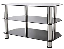Simple and stylish TV stand Universal for TVs up to 32 inch Max TV Weight 30kg Chrome legs compliment black glass Dimensions (mm): W600 x H500 x D420
