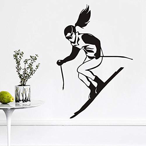 Een meisjes skiën muursticker voor de kinderkamer wintersport skiërs racing muurtattoos vinyl afneembare lijm sticker 87cm x 59cm