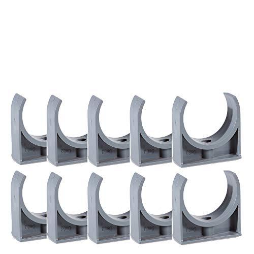 EXCOLO PVC Rohr und Rohrverbinder Ø 50 mm Winkel Kniestück Muffen T-Stück Kappen Fittings (10 x Wandhalter)