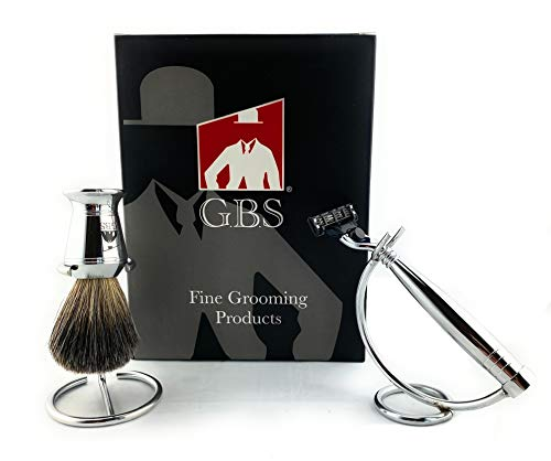 GBS Men's 4 Piece Shaving Set - Chrome Mach 3 Compatible Razor w/ 3 Blade Lubricated Strip Cartridge, Badger Bristle Shaving Brush, Stainless Steel Stands for Brush and Razor.