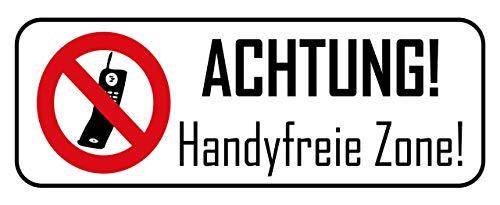 Blechschild 27x10cm gewölbt Achtung Handyfreie Zone Deko Geschenk Schild