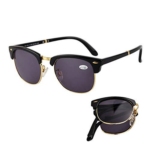 D&XQX Polarisierten Sonnenschutz Sonnenbrille UV-Schutz im Freien beweglichen Folding Lesebrille mit Lesebrille für Fahren, Angeln, Reisen,Schwarz,+2.5