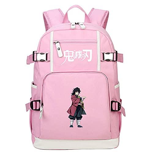 Zaino Borsa da scuola per studenti adolescenti Anime Demon Slayer rosa giapponesi Borse da scuola Zaini Casual, Zaino Unisex Adulto