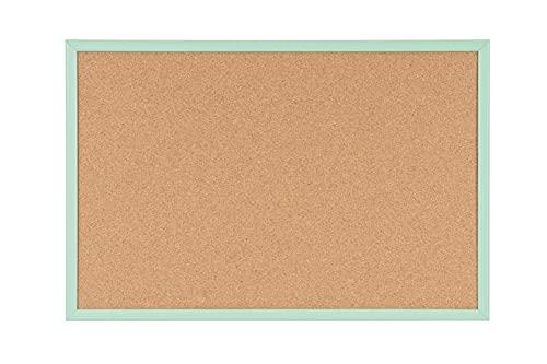 Bi-Office Pizarra de corcho, marco de madera verde pastel MDF, 60 x 40 cm