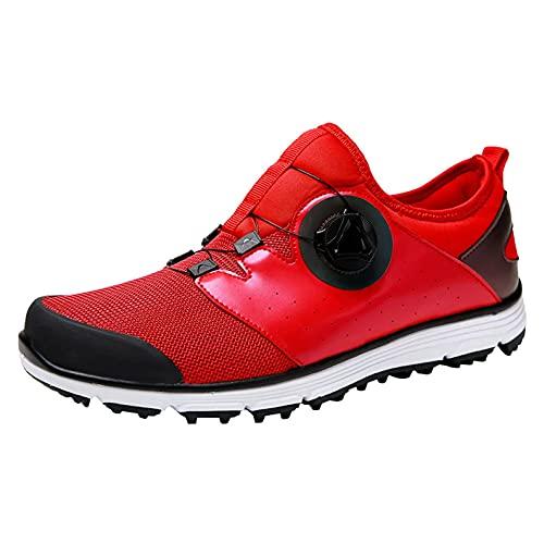 Calzado De Golf para Hombre Cuero A Prueba De Agua Calzado A Prueba De Caminata Antideslizante Pusas Transpirables De Golf Zapatos De Entrenamiento De Hierba,Rojo,40 EU