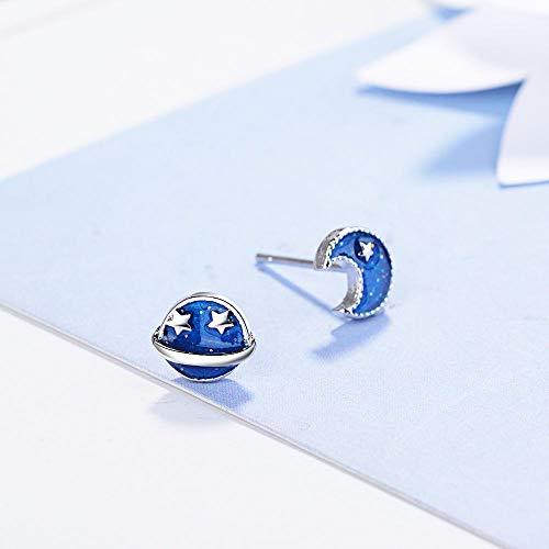 Pendientes Mujer Pendientes Asimétricos Brillantes De Plata De Ley 925, Joyería De Moda, Regalo Simple para Damas