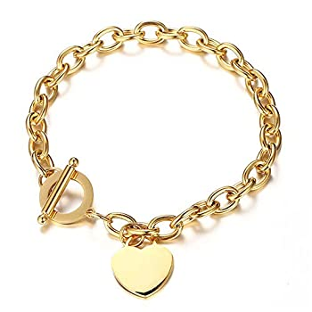 Wang Gao Elegent Love Stainless Steel Link Chain Blank Heart Charms Bracelet for Women 8.07   Length Toggle Clasp Closure Gold …