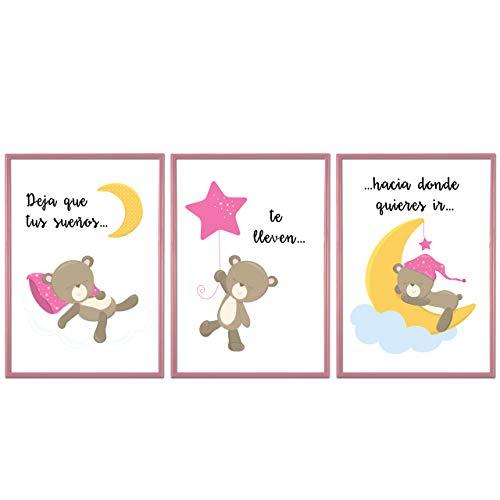 BOEMY Cuadros Infantiles para habitación de Niña. Set de 3 Láminas con Marco para habitación Infantil con Marco Rosa de PVC. Tamaño A4, 21 x 30 cm.