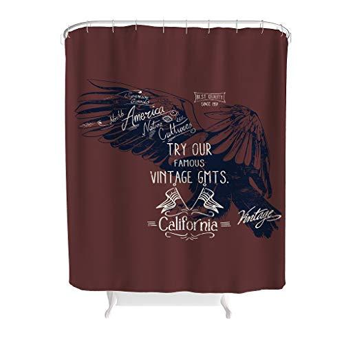 Zhcon vogel Eagle tekst patroon decoratieve douchegordijnen met gratis haken lange stof badkamer Decor vogel bad gordijnen Gift voor familie
