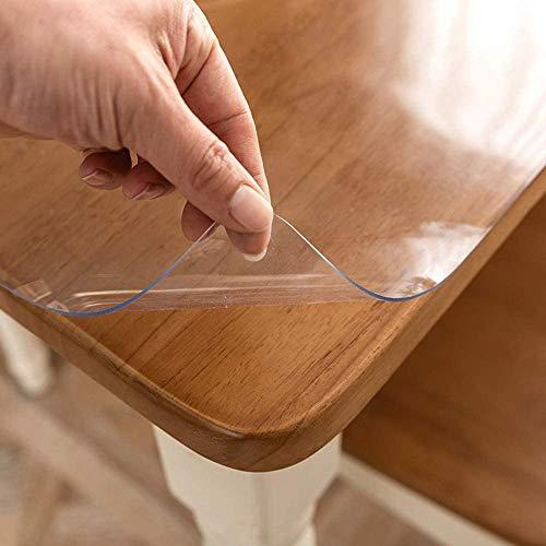 NLKE Glasklar Folie PVC Tischabdeckung Tischfolie Transparent Tischdecke Kunststoff Schutzfolie Tischschutz Durchsichtig Tischschoner Tischschutzfolie Für Küche Restauran 1.5mm-70x70cm/28x28in