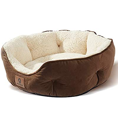 Asvin Small Dog Bed & Cat Bed, Self Warming Lounge Sleeper, Round Cushion Pet Beds for Indoor Kitty or Puppy, Super Soft & Machine Washable Pet Supplies, Anti-Slip & Water-Resistant Oxford Bottom