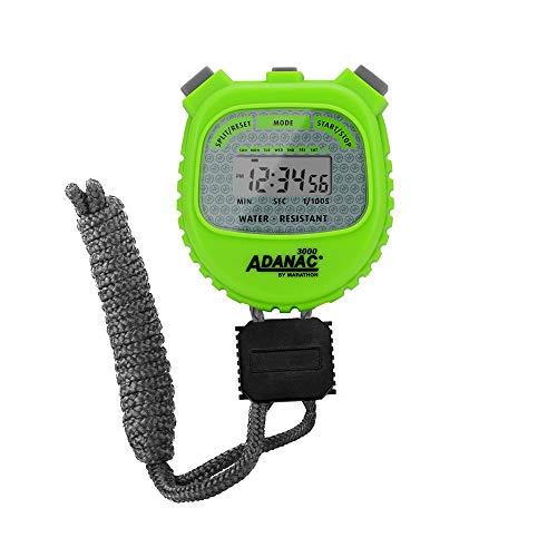 Marathon ADANAC 3000 - Cronómetro digital, resistente al agua, batería incluida (verde neón)