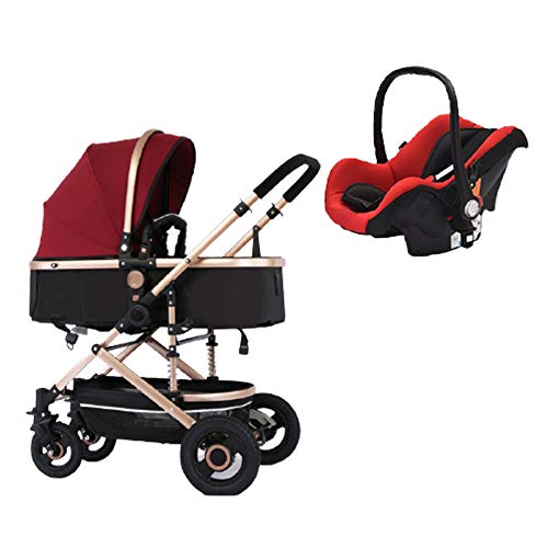 Premium 3-in-1 Stroller Lightweight Baby Stroller Over Sized Storage Basket Blanket Boot (Red, YES Include CAR SEAT)