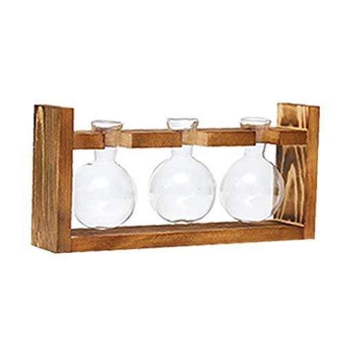 YepYes Desktop-Pflanzer Glas 3 Birne Vase Terrarium Air-Pflanzer mit Vintage-Holzständer für Hausgarten-Büro-Dekoration