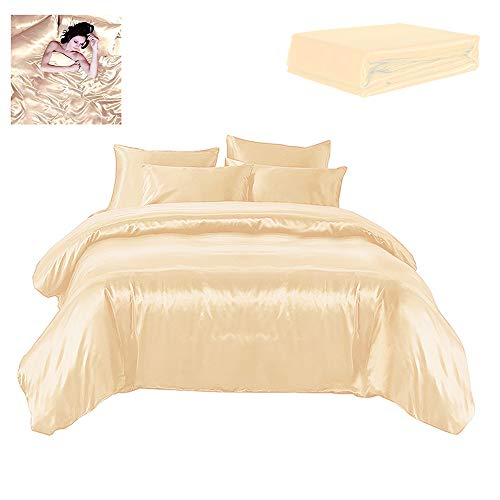 1 lenzuolo coprimaterasso e 4 federe Chocolate Satin Set biancheria da letto include 1 copripiumino